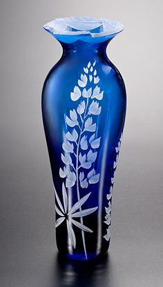 Field Lupines Vase with Cut-Away Lip  glass vase by Cynthia Myers