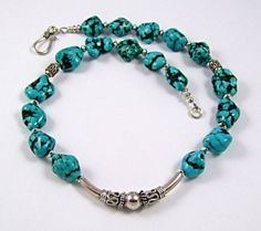 Turquoise nugget sterling silver necklace  N170 by TheSilverBear, $115.00
