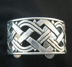 Hector Aguilar 940 silver 'X' cuff bracelet, circa-1940s Taxco / Mexican Vintage Jewelry
