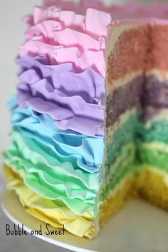 Bubble and Sweet: How to make a Pastel Rainbow Ruffle Cake. Also has buttercream directions as well!