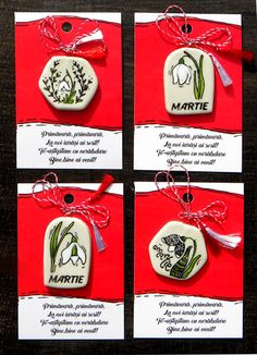 Martisoare+pictate+cu+ghiocei Wood Slices, Polymer Clay Crafts, Spring Day, Diy Jewelry, Diy And Crafts, Objects, Hand Painted, 8 Martie, Handmade