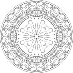 Desenho para colorir Mandalas Painting, Mandalas Drawing, Mandala Coloring Pages, Coloring Book Pages, Dot Painting, Zentangles, Coloring Sheets, Simple Mandala, Flower Mandala