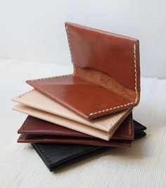 Personalized Card Holder Nude Leather Hand Stitched by HarLex