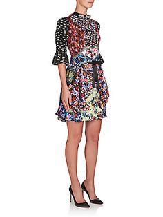 Floral, contained ruffles.Mary Katrantzou Laroy Floral Tie-Waist Dress