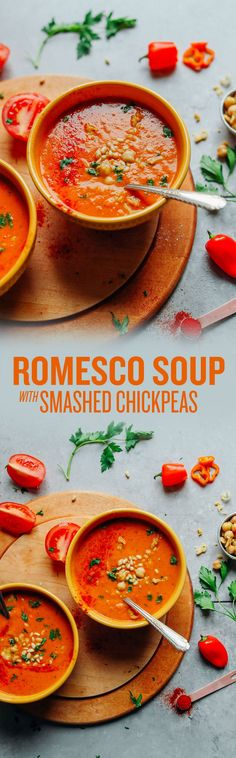 AMAZING Romesco Soup with Smashed Chickpeas! 10 ingredients, simple methods, BIG flavor! #vegan #plantbased #redpepper #soup #romesco #recipe #glutenfree #minimalistbaker