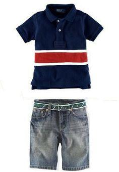 New sports clothing Set Boys blue Short Sleeve Red Stripe t-shirt+jean shorts,children outerwear summer Tracksuit Kids costumes  活动开始了,-58 OFF  来让店主吐血吧。