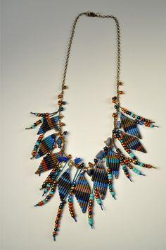 Fringe Necklace, via Etsy. Fringe Necklace, Macrame Necklace, Macrame Jewelry, Fabric Jewelry, Textile Jewelry, Jewelry Knots, Jewelry Crafts, Jewellery, Handmade Necklaces
