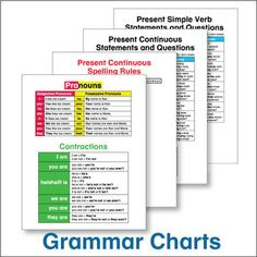 ESL Grammar Charts - Pin these to the wall or paste them into student notebooks for an easy reference students will use again and again.