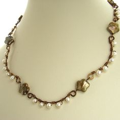 Pearl flower wrapped necklace