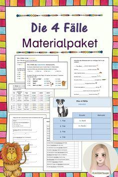 Dieses Material enthält alle Materialien zu den 4 Fällen. Darin enthalten sind einige Übungsblätter und auch ein Klettheft zum Üben. Bullet Journal, Pictorial Maps, Teaching Materials, Math Resources, Teachers, First Grade, Primary School, Deutsch