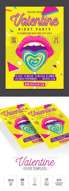 Valentine #party #love poster • Download ➝ https://graphicriver.net/item/valentine/21360220?ref=pxcr