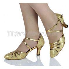 Free Shipping Wholesale Gold Glitter Ballroom Closed Toe Salsa Dance Shoes