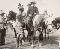 Winston Churchill, pictured on a horse during the Boer War, promised a train driver he would guarantee his bravery was honoured if he managed to take his train carrying British troops to safety despite being under attack Texas History, British History, Dean Martin, The Lone Ranger, Western Movies, Winston Churchill, Historical Pictures, African History, Military History