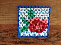 Onderzetter roos - Rose hama perler beads