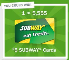 Hurry on over here to request a FREE $5 Subway gift card – available to the first 5,555! Allow 8-10 weeks for delivery. Hurry – these will go FAST! (Thanks, Dayna!)