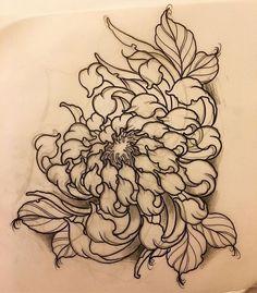 27 Trendy flowers drawing tutorial one stroke Flower Tattoo Drawings, Tattoo Sketches, Sketch Drawing, Drawing Flowers, Tattoo Flowers, Chrysanthemum Drawing, Chrysanthemum Flower, Art Drawings, Black Tattoos
