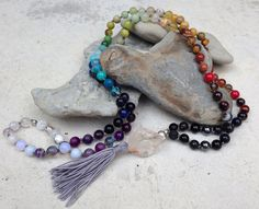 REGULATE Balancing Mala Bead Necklace Hand Knotted with 108 Beads for All 7 Chakras Rainbow by FTSoul on Etsy https://www.etsy.com/listing/223664139/regulate-balancing-mala-bead-necklace