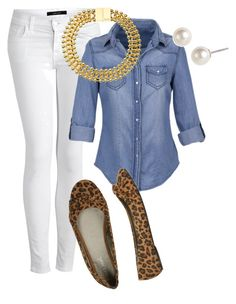 """Chambray and White Jeans"" by marybethschultz ❤ liked on Polyvore featuring J Brand, Wet Seal, Bex Rox, Givenchy, white jeans, leopard print shoes, leopard print and chambray"