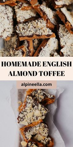 Best Easy Dessert Recipes, Awesome Desserts, Candy Recipes, Fun Desserts, English Desserts, English Food, English Toffee Recipe, Almond Toffee, Food Log