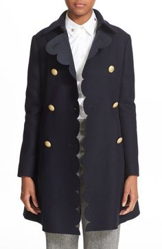 Main Image - RED Valentino Double Breasted Wool Blend Coat