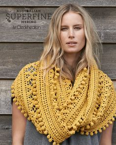 Hand made Crochet Cowl in Australian Superfine Merino - 65 Mustard