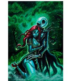 """Jack Skellington and Sally art print by artist Joey Rotten. Art print size 12"""" x 18"""" (30.5cm x 45.5 cm). Art prints are printed on heavy weight, 100 lb semi gloss cover stock. All prints are individua"""