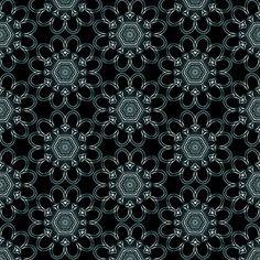 Silvery Medallion  v3  on black fabric by fireflower on Spoonflower - custom fabric