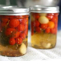 You might not have considered the possibility that small tomatoes could be pickled whole, but it's a great way to preserve this summer treat.