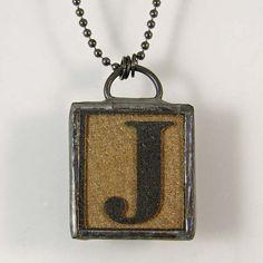 Letter J Pendant Necklace by XOHandworks $25
