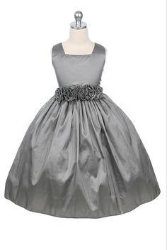 grey flower girl dresses | grey taffeta flower girl dress with flower cummerbund