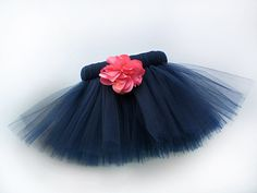 Navy Dog Tutu with Coral Flower - Elastic Fit - Navy Blue Pet Tutu Costume