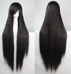 100cm long black straight cosplay hair wig at www.costwe.com ,Synthetic Hair Wig Cheap Curly Wigs ,long wavy wig shop at www.costwe.com