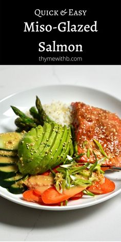 This baked Miso-Glazed Salmon Recipe is quick and easy. A bonus recipe for a Ginger Soy Dressing is a perfect paring for a healthy dinner. Have it with salad, rice, your favourite veggies, or all! Gluten Free Recipes For Dinner, Healthy Dinner Recipes, Whole Food Recipes, Salmon Recipes, Fish Recipes, Miso Glazed Salmon Recipe, Soy Ginger Dressing, Healthy Cooking, Cooking Recipes