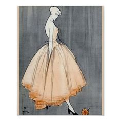 A gorgeous ballgown illustration from a famous French designer. Perfect for the fashionista, lover of French couture, etc. A classy design for the classy girl!!