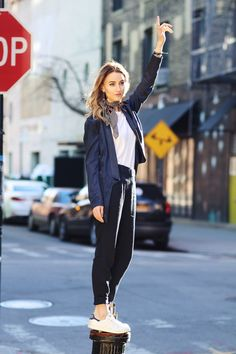 NYC street style inspo - white kicks and track pants for a day on the go via Queen of Jetlags.