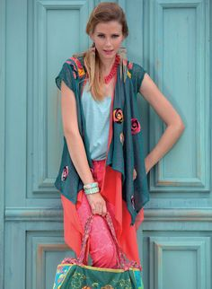 Love the colors! Summer 2014, Spring Summer, Sweater Making, Creative Outlet, Beaded Embroidery, Textile Design, Knitwear, Vest, Feminine