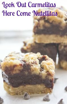 Nutellitas are an easy decadent Cookie Bar Recipe based on Carmelitas, made with Nutella, Oatmeal and chocolate chips. So good, the Best.