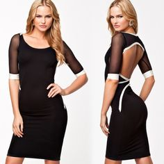 2015 New Casual New Womens Slim Bodycon Fitted Pencil Mini Evening Club Cocktail Dress