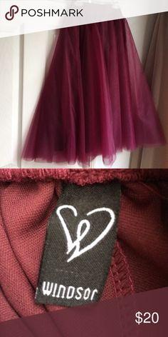 Plum Ballerina Skirt Tule skirt. Size small. Tea length. Plum. Windsor store. WINDSOR Skirts A-Line or Full