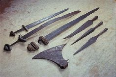 Viking swords, spears and axe