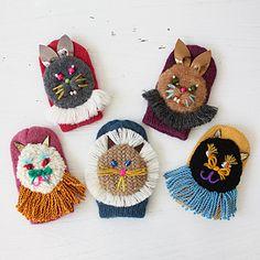 wool,cube,wool! キッズミトン ピンク×ネコ - 大人かわいい雑貨のセレクトショップ「マッシュノート」