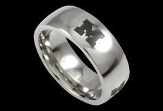 Beliza Design | University of Michigan Rings - R51Z2019 - Polished Stainless Steel University of Michigan Ring with Black Enamel Block 'M' Logos