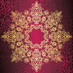 Elegant round lace pattern on seamless background with swirls