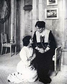 Tatiana with her mother in about 1914. Her hair was cropped short following a bout of typhoid in 1913.