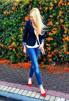 Navy and red shoes - Classic combination