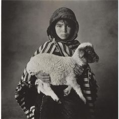 Moroccan child with lamb, 1971.