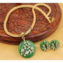 Awesome Designer Green Necklace Set-dj04563