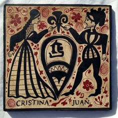 Ideal and unique gift for Engagement, Wedding, Anniversary, personalized with the names of the couple. Rustic handmade ceramic tile, hand-painted featuring a medieval couple. $64 Free global shipping