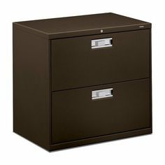 """600 Series 30"""" W Two-Drawer Lateral File Finish: Charcoal by Hon. $387.35. HON672LS Finish: Charcoal Features: -Two-drawer, lateral locking file cabinet.-Two adjustable hangrails per drawer.-Mechanical interlock allows only one drawer to open at a time.-Bright anodized aluminum recessed drawer pull and plastic label holder.-Equipped with HON ''One Key'' interchangeable core removable locks.-Available in Black, Charcoal, Light Gray or Putty. Dimensions: -Overall Dim..."""
