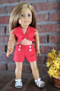 American Girl doll clothes Red polka dot halter shortset for doll such as… American Doll Clothes, Ag Doll Clothes, Doll Clothes Patterns, Clothing Patterns, American Dolls, Doll Patterns, Ag Clothing, Clothing Ideas, Girl Dolls